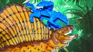 ДИМЕТРОДОН против ТИРАНОЗАВРА - Слепой ДРАКОН, Спинозавр. Динозавры для детей. Приз в каждом видео!