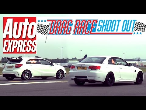 Mercedes A45 AMG vs BMW M3 (E93) Convertible - Drag-Race Shoot-out