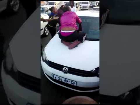 Girl  catch the husband cheating , she can't get off the car.