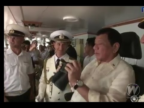 President Rodrigo Duterte tours Russian anti-submarine Warship in Manila
