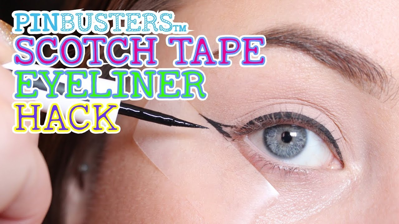 Winged Eyeliner Hack Using Scotch Tape // DOES IT WORK?