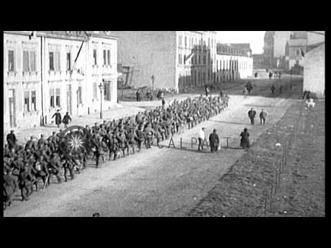 The 10th and 42nd German Divisions withdraw from France, bordering Luxembourg, af...HD Stock Footage