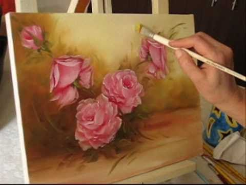 Pintando rosas parte 4 leo sobre tela por shirley sbeghen youtube - Como pintar sobre tela ...