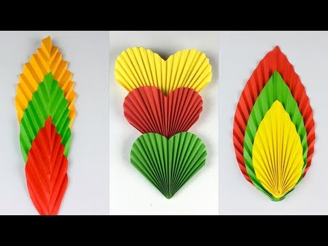 3 Paper Leaves   Paper Leaf  How To Make Paper Leaves   Paper Crafts Easy