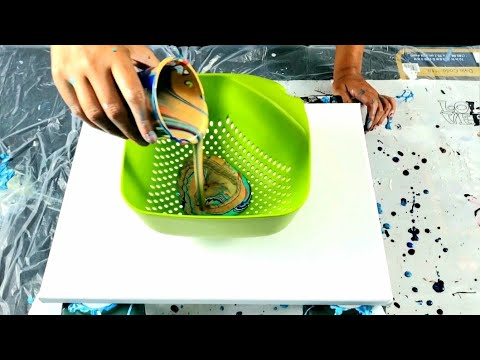 New Square Colander Pour ~ Does it Work the Same? Acrylic Pouring / Fluid Art