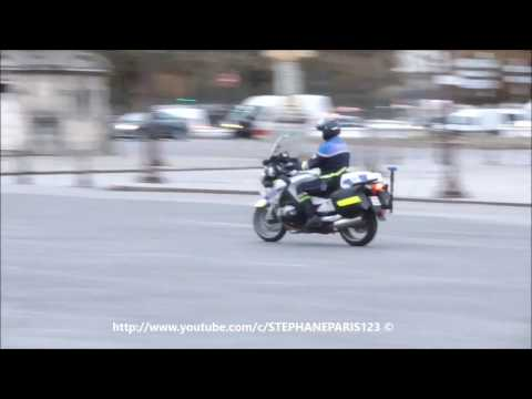 French police on motorcycle in Paris.