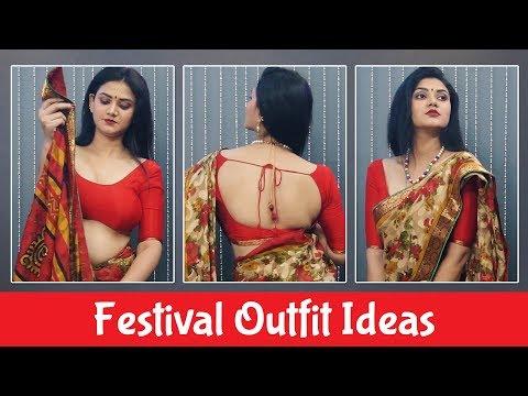 Mahavir Jayanti Festival Outfit Ideas Girls | How to wear Saree | Festival Lookbook | Pebbles Hindi