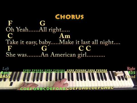 American Girl (Tom Petty) Piano Cover Lesson In C With Chords/Lyrics