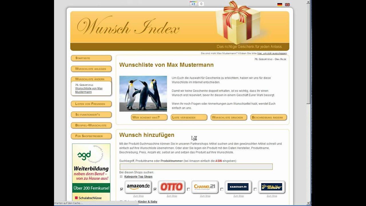 171fc8683a8f06 Auf wunsch-index.de eine online Wunschliste anlegen - schnell ...