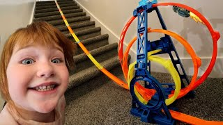 🏎️💨 WE DiD iT!!  Adley & Niko make an Ultimate Hot Wheels Track inside the house with Mom and Dad