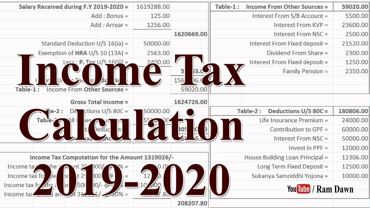 income tax 2019-20 calculation excel sheet