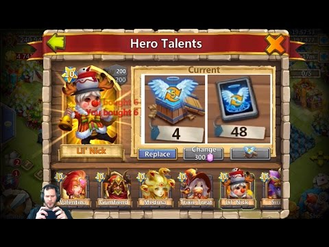 JT's Main Rolling Talents For LIL NICK + Four Level 5 Talent Chests Castle Clash