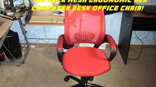 Unboxing and Review on the Mid Back Mesh Ergonomic Red Computer Desk Office Chair