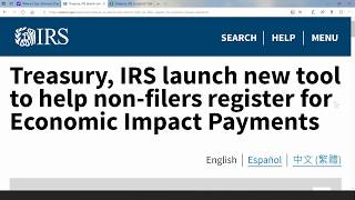The treasury department and irs today launched a new web tool allowing quick registration for economic impact payments those who don't normally file ...