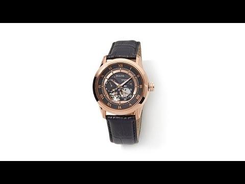 0d25f19cf Bulova Men's Automatic Leather Strap Skeleton Watch - YouTube