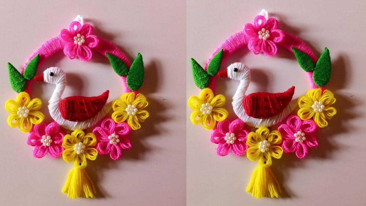 Best Out Of Waste Craft Diy Woolen Birds Wall Hanging Diy Home Decor Ideas Woolen Craft Youtube