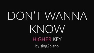 Don't Wanna Know (Higher Piano Karaoke) Maroon 5 & Kendrick Lamar