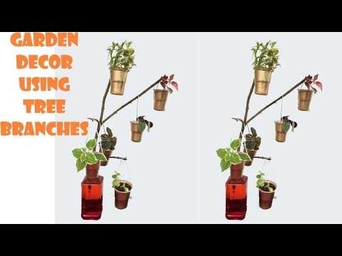 garden decor using tree branches/waste cup ideas/ DIY ideas