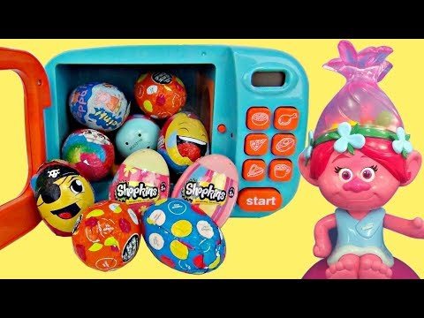 Magical Microwave TROLLS Poppy Gumball Dispenser, Learn Colors Kinder Chocolate Egg Surprises / TUYC