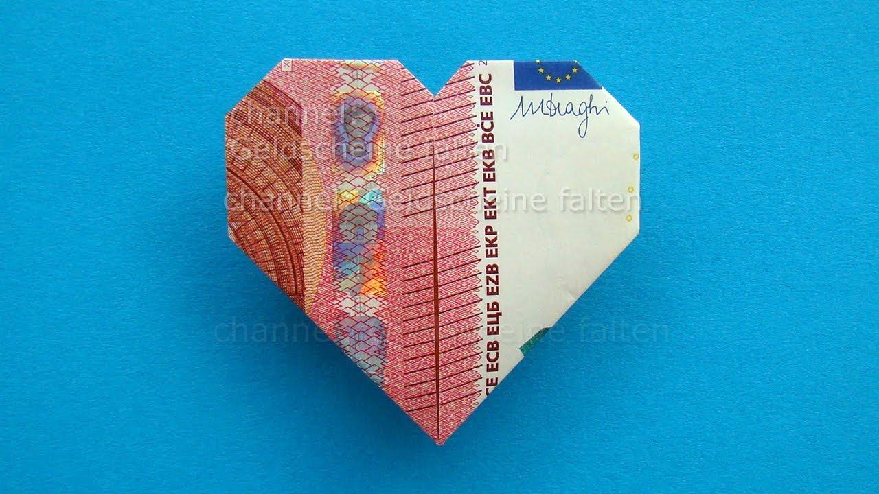 geldscheine falten herz leichte origami herz aus geld falten z b zur hochzeit youtube. Black Bedroom Furniture Sets. Home Design Ideas