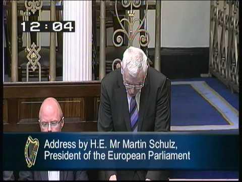 Joe Higgins challenges European Parliament President Martin Schulz in the Dail