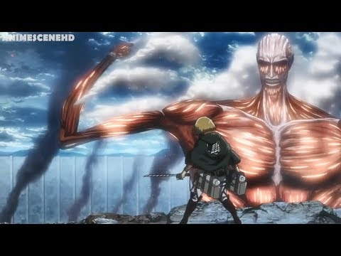 Armin and Eren vs Colossal titan I Attack on titan season 3 HD (60fps)