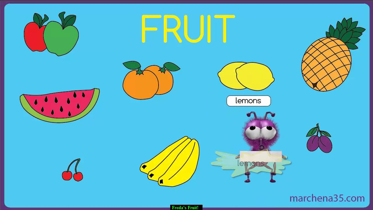 learn the names of fruit with freda the fruit fly. Black Bedroom Furniture Sets. Home Design Ideas