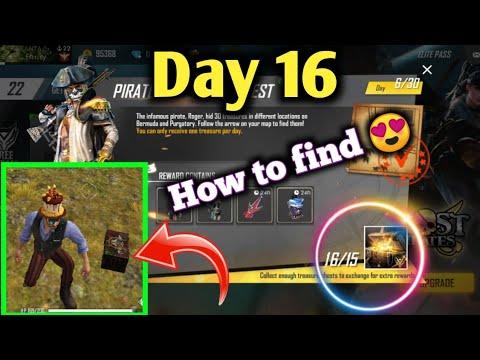 (DAY 16) Free Fire Treasure Hunt   How To Find Pirate Treasure Chest  Garena Free Fire Battleground.