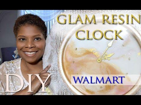 DIY: GLAM RESIN CLOCK   $11 WALMART CLOCK   Rose, Gold, and Pearl   Mooregirl