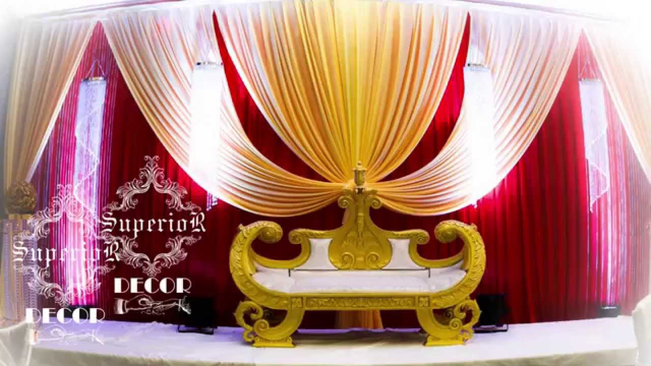 How to make wedding backdrop by superior decor youtube for Backdrops decoration