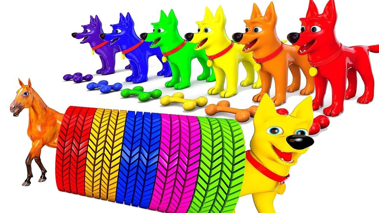 image Dạy bé các con vật cho bé tập nói   Bé học màu sắc cún con   Giáo dục sớm