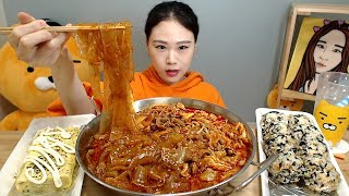 제육볶음 중국당면 계란말이 주먹밥 먹방 Mukbang