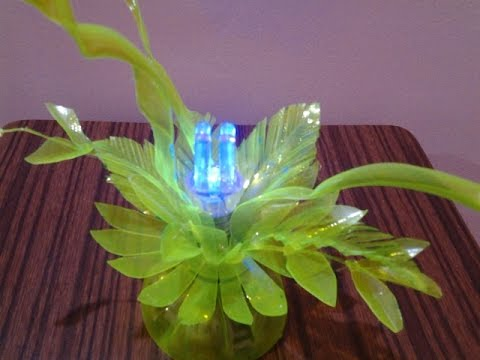 Best out of waste plastic mini decorative lamp youtube for Waste material craft work with bottles