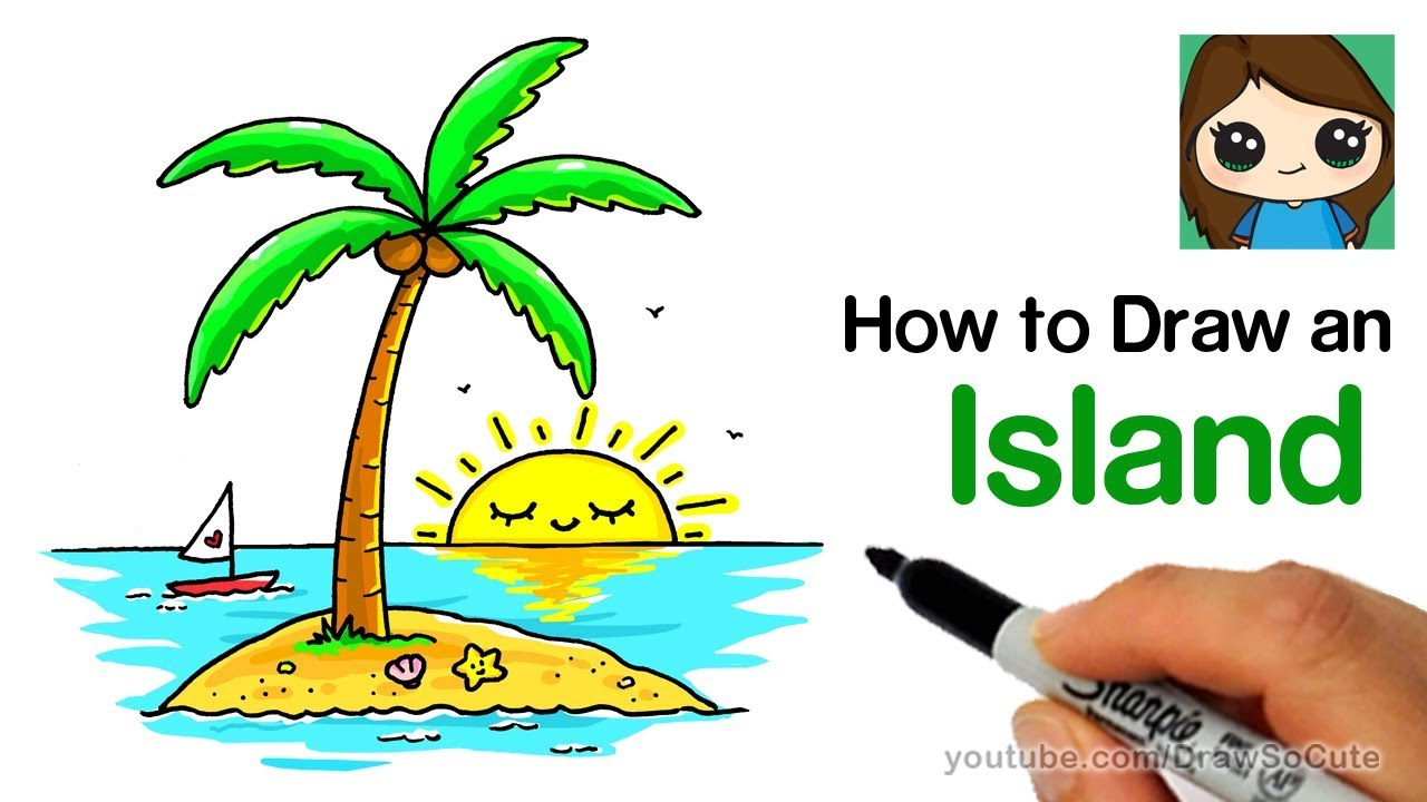 How to Draw an Island with a Coconut Tree Easy  #Trend