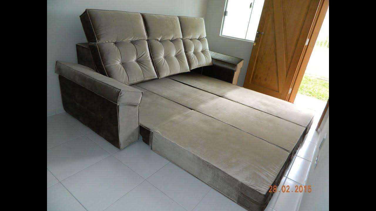 Sof retr til que vira cama com cabeceira reclin vel youtube - Modelos de sofas ...