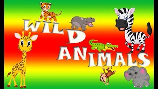 Learn Wild Animal Names and Sounds in English for Children, Kids and Toddlers. First Words.