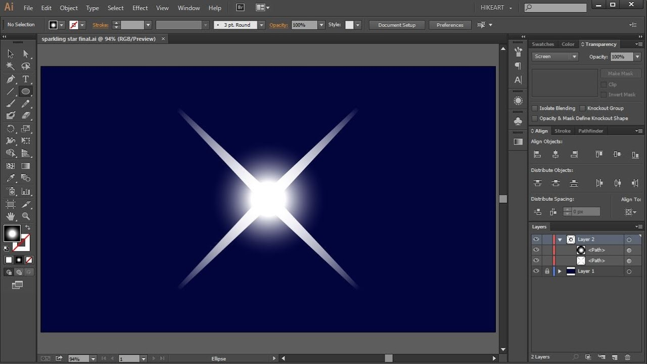 How To Draw A Sparkling Star In Adobe Illustrator Youtube