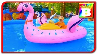 Pink swan walking on water  Water Playground fun for kids with slides and inflatable toys  Bogdan's