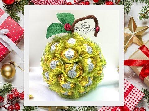 DIY🍎ЯБЛОКО ИЗ КОНФЕТ своими руками🍎Идея подарка на Новый год🍎Что сделать из конфет и шара