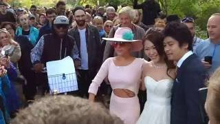 Lady Gaga poses with young japanese Bride in Central Park