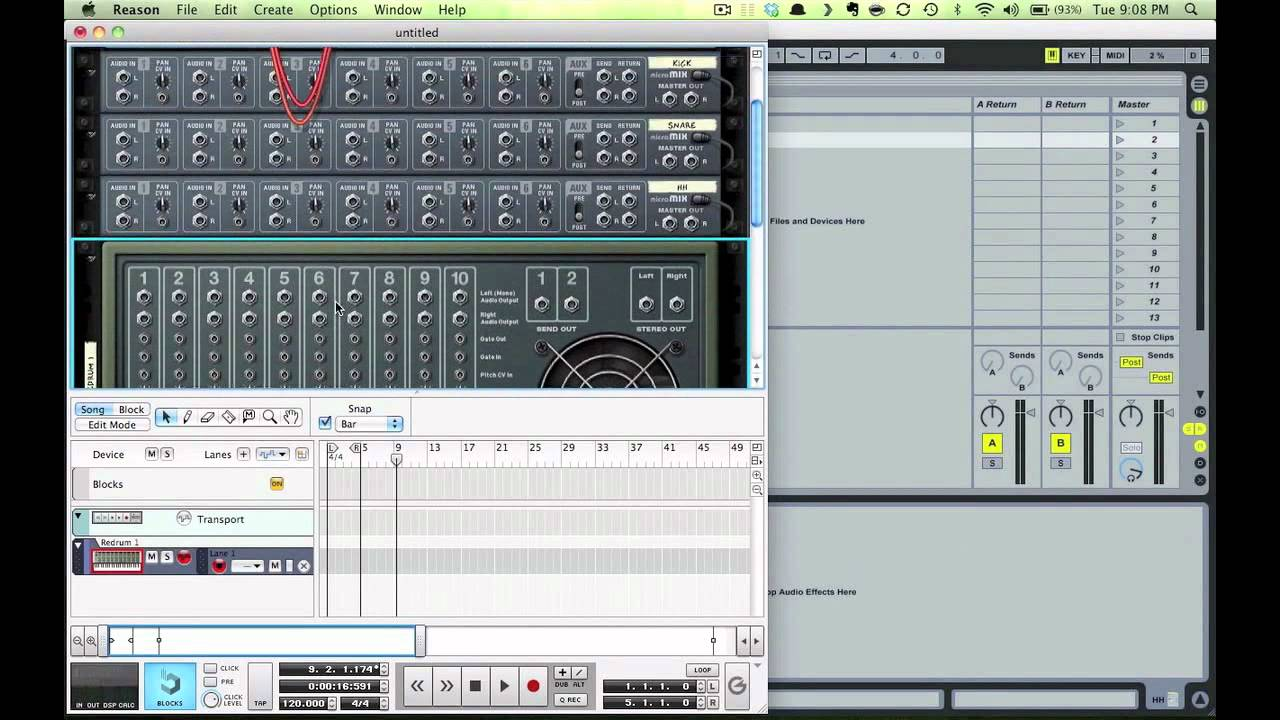 Using rewire to setup Reason\'s ReDrum from inside Ableton Live - With Lynch Audio