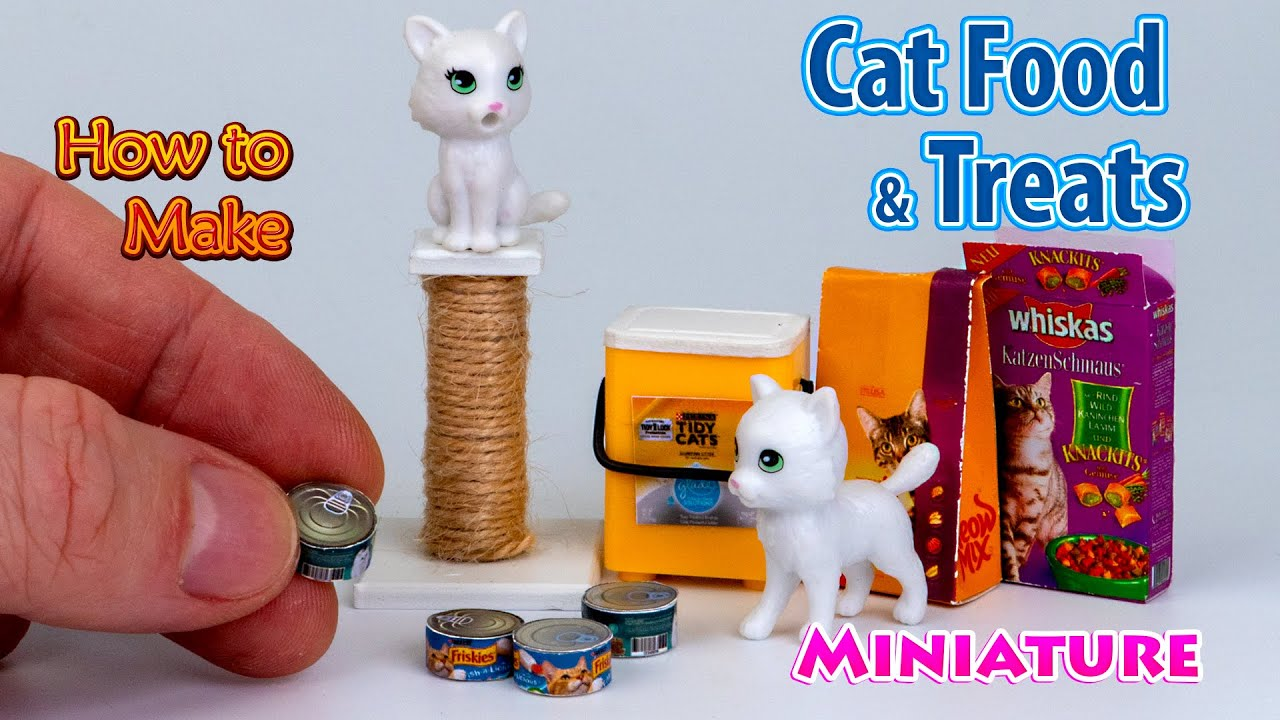 How to make Miniature Cat Food and Treats - Tutorial | DollHouse | No Polymer Clay!