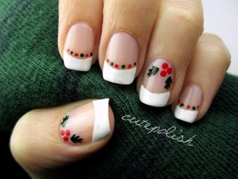 Easy Holly Nail Art