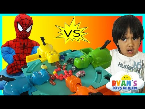 Thumbnail: Hungry Hungry Hippo eats Disney Cars Micro Drifters Family Fun Game Surprise Egg toys Spiderman