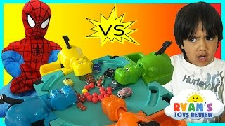 Hungry Hungry Hippo eats Disney Cars Micro Drifters Family Fun Game Surprise Egg toys Spiderman