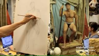 Длительный рисунок мужской сидящей(1). Обучение рисунку.Фигура. 84 серия.