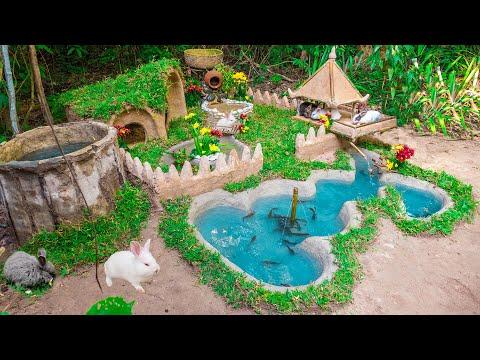 Building Rabbit Fish Pond with Mud Rabbit House And Raising Catfish
