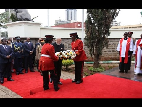 PM Modi at the Wreath-laying ceremony of Mzee Jomo Kenyatta, First President of Kenya
