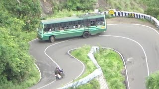 Valparai Hills : Govt Bus And Car Bike Crossing 13/40 Hairpin Bend Road Pollachi