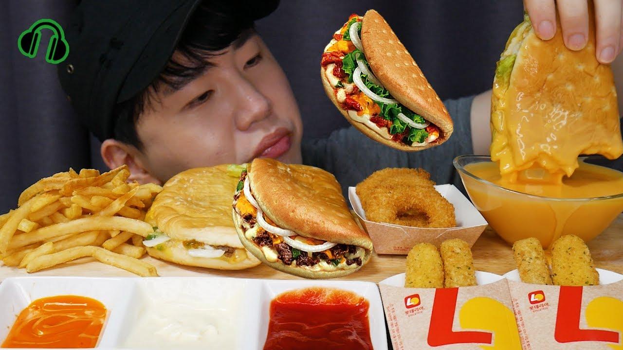 ENG 롯데리아 폴더버거..조용한먹방 Folder burger..?! Mukbang ASMR DoNam